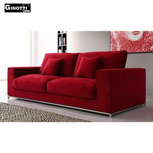 Red European modern design contemporary velvet sofa