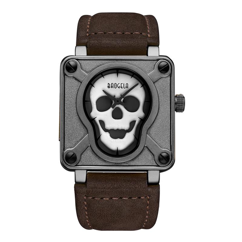 a8ad28f60347 Nueva baogela marca moda punk cráneo luminoso dial Square reloj de cuarzo impermeable  hombres militares lujo