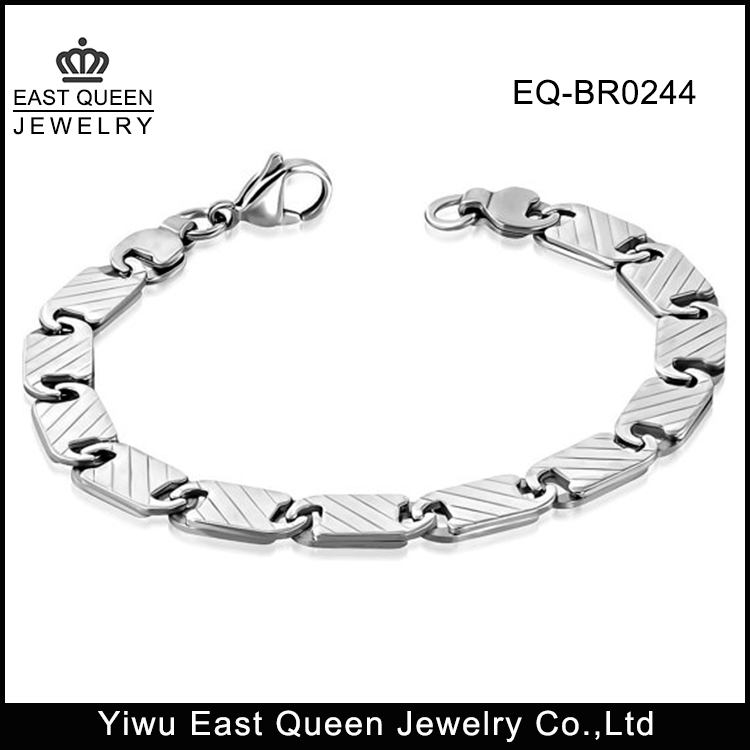 316L Stainless Steel Men's Unisex Flat Oval Link Chains Bracelet