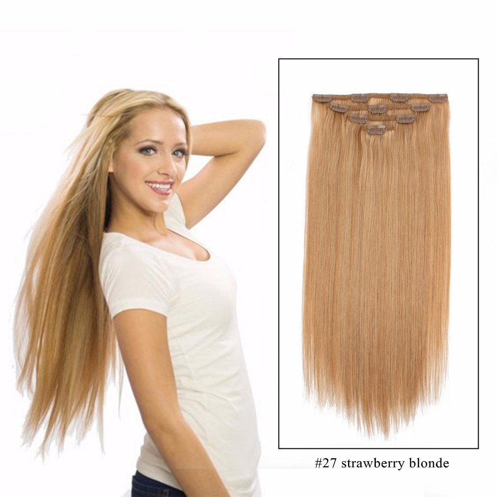 Sassina Straight Hair Clip ins For Women Double Wefts Remi Brazilian Human Hair Extensions Clip-ins Colored Strawberry Blonde 80Grams/Set 4 Pieces With 10 Clips, #27 20 Inch