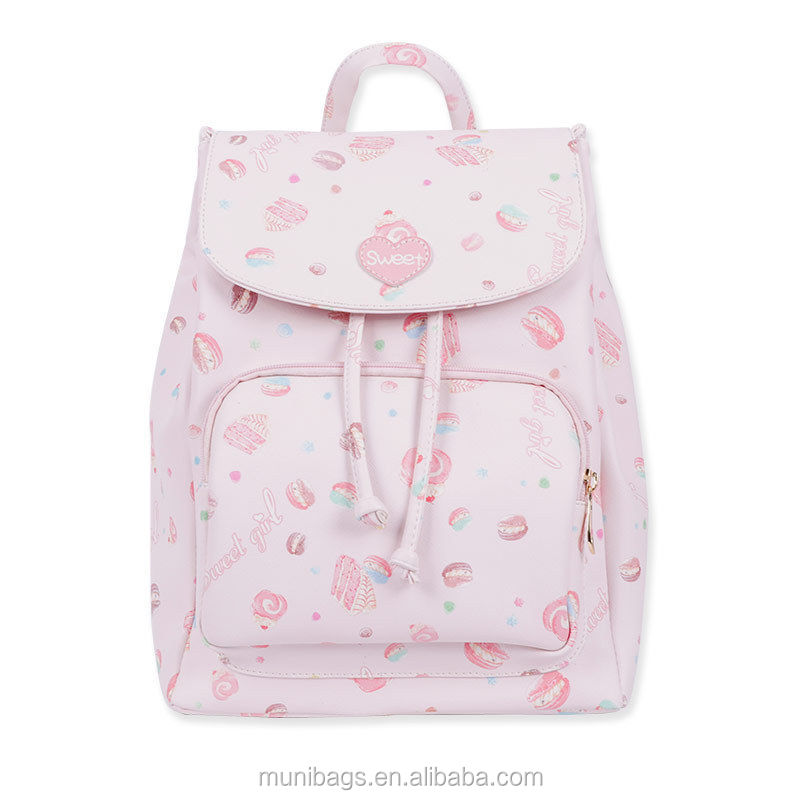 Sweet Lolita Lovely Pink Donuts Cake Dessert PU Backpack School Bag Girls Kawaii