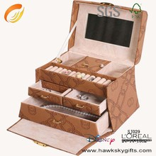 Best sale leather jewlery box antique wood jewelry box with handle