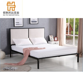 Morden Simple Design Double Size Fabric Headboard Metal Bed Frame
