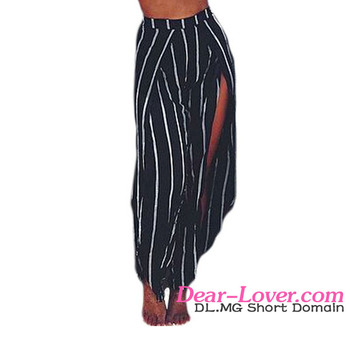 d23ab0105e New Design Black White Stripe Open Wide Leg Beach Pants Sarong Beachwear