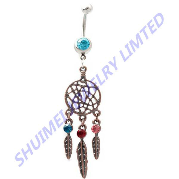 316l Surgical Steel 14g Gauge Mixed Color Gem Dangle Dream Catcher Net Belly Ring Navel Piercing