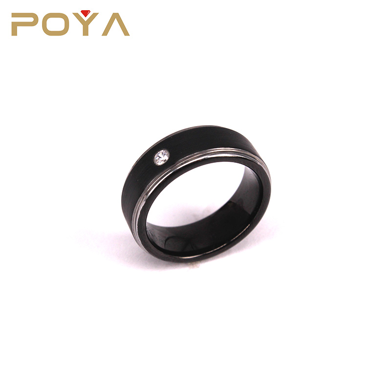 POYA Jewelry Mens Womens Wedding Band Two Tone Black Brushed Tungsten Ring With A Cubic Zirconia 8mm Step Edge Comfort Fit