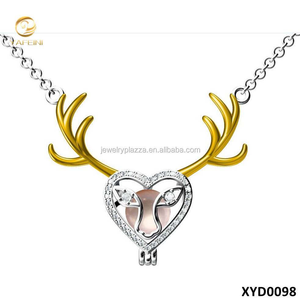 Best Selling Products Custom Deer Shape Openable Silver Pearl Cage Pendant Christmas Deer Jewelry