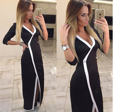 2016 Spring Autumn Sexy Women Deep V Neck Split Front Slim Party Evening Slit Three Quarter Dress Q0241