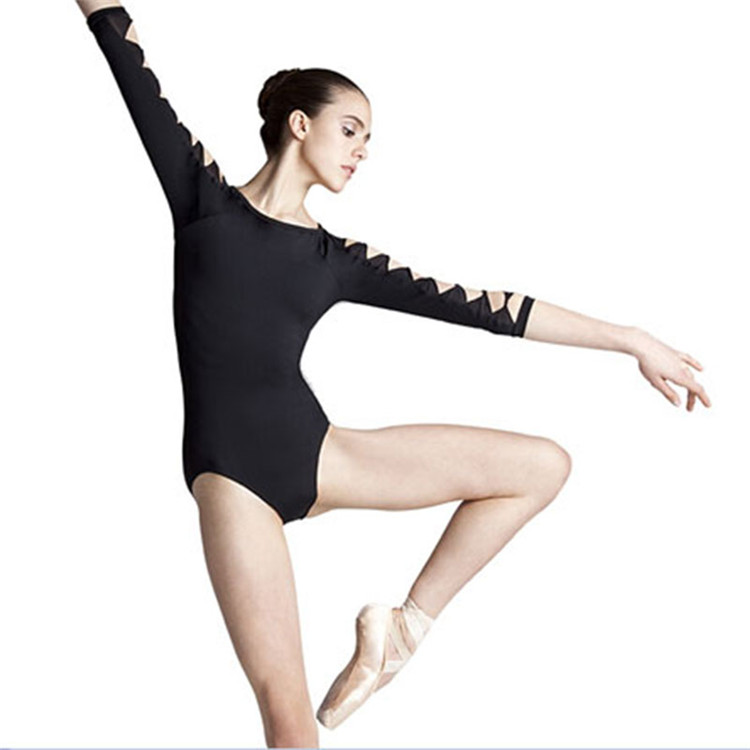 Fashion Ballet Dance Girls Cotton Lycra Sexy Black Long Sleeve Leotard