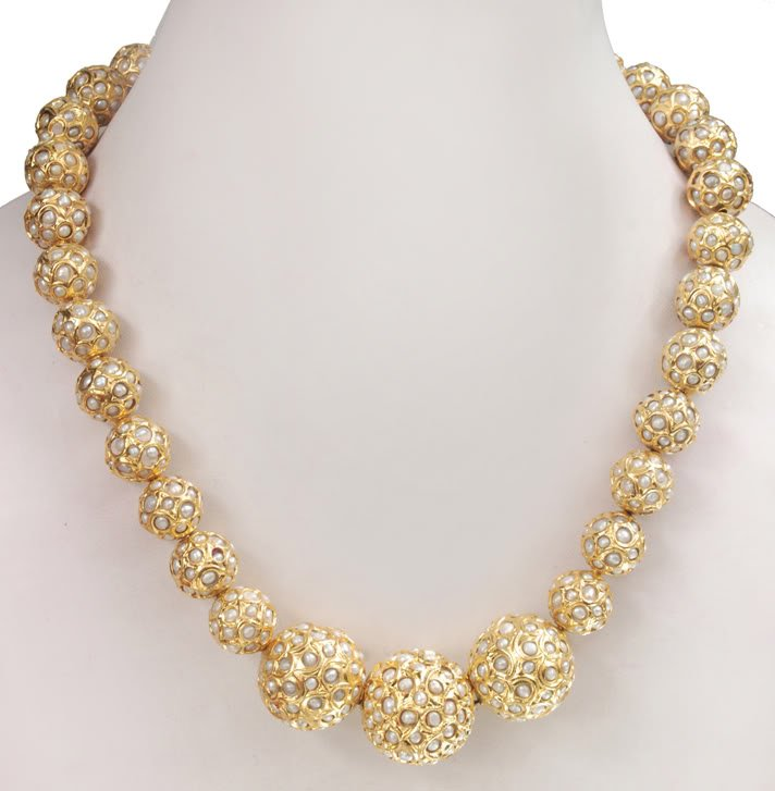 Handcrafted Single Strand Gold Foil Pearl Necklace - Buy Pearl ...
