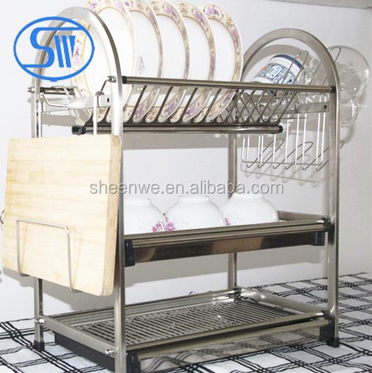 Wdj650 680 gunagzhou kitchen storage rack 3tier stainless for Kitchen set rak piring