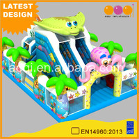 AOQI design cheap outdoor ocean theme inflatable play land combo Aquarium inflatble amusement park product for sale
