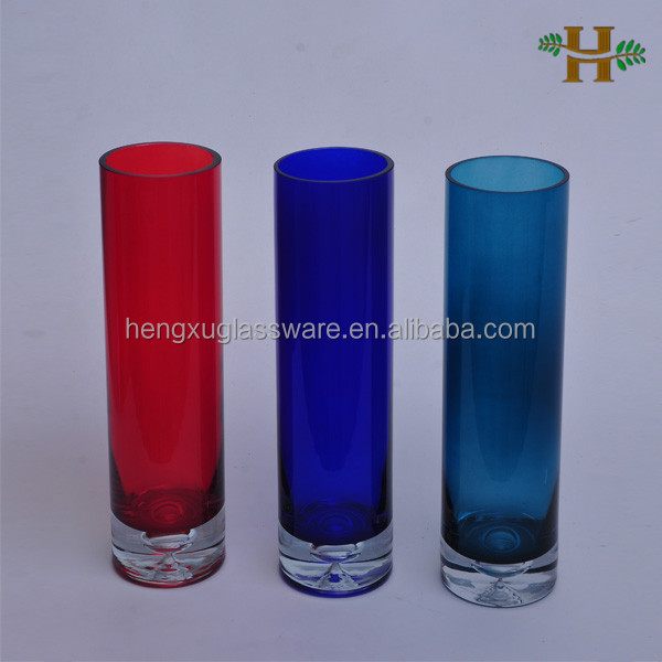 Tall Colored Cylinder Vases Glass Vases With Bottom Bubble