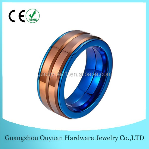 High Quality Brown Tungsten Ring, Blue Stainless Steel Ring With Chocolate Tungsten Ring Inlay