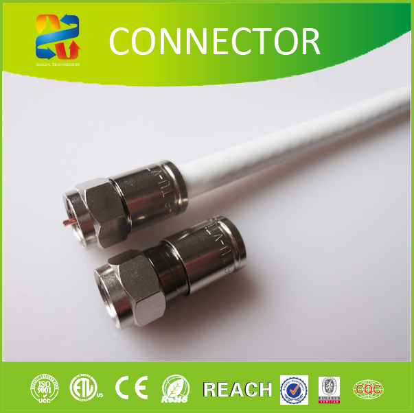 XINGFA CABLE 100% Metal Dual Shield RG6 F Male Plug Compression Connectors