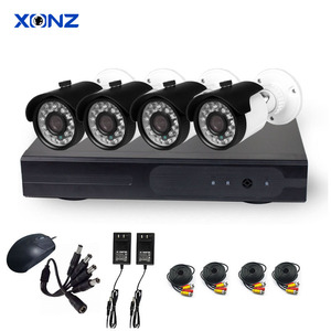 Factory Wholesale Outdoor Bullet IR Night Vision 4ch Channel AHD Camera CCTV DVR Kit 1080P