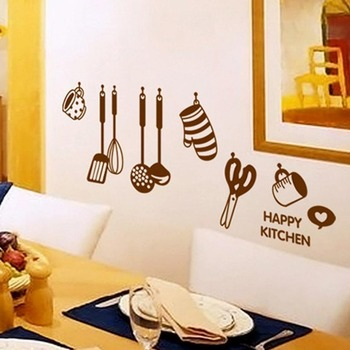 Hot-sales DIY Removable Happy Kitchen Wall Decal Vinyl Home Decor Wall Stickers