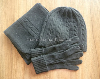 d86ee8383edfd Fashion 7gg Cable Knitted 100% Cashmere Hat Glove Scarf Set - Buy ...