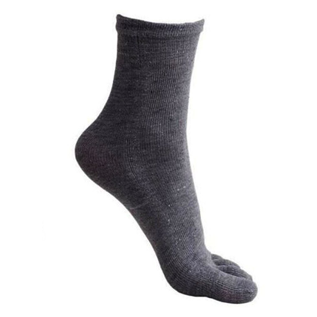 VANKER 1 Pair Gray- Men Soft Deodorized Pure Color Sports Breathable Five Toe Socks
