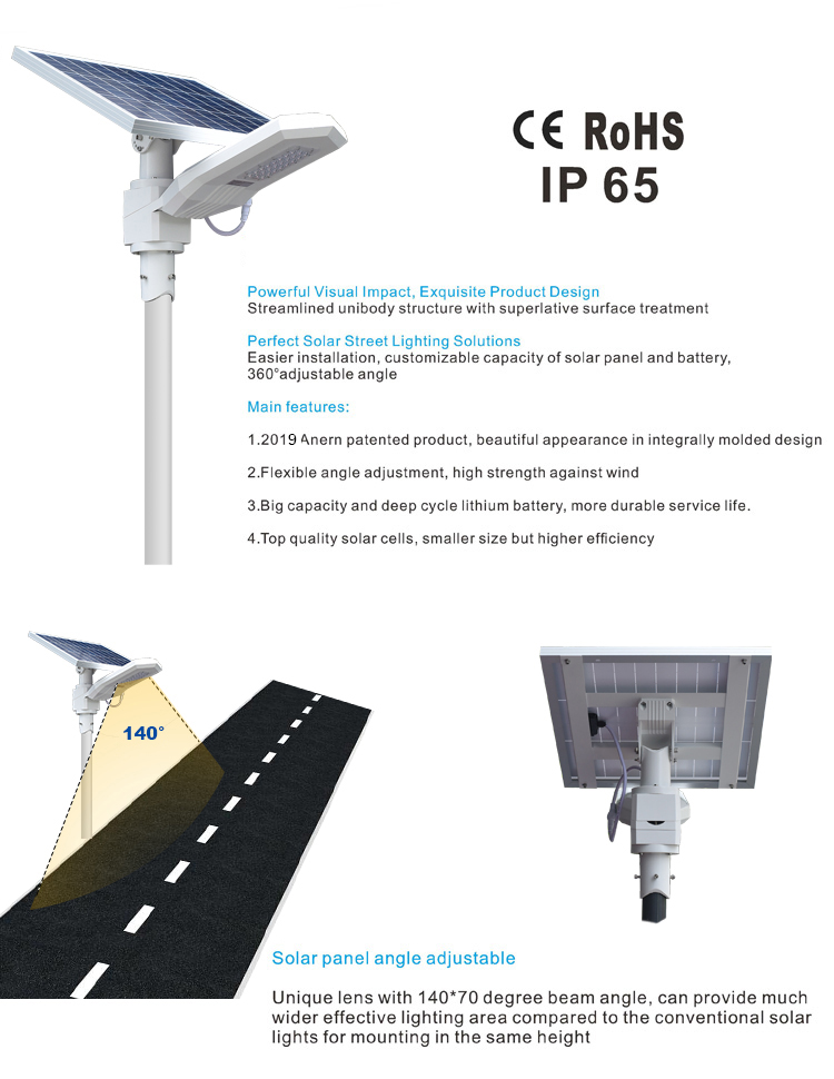 High power integrated solar system led street light for highway