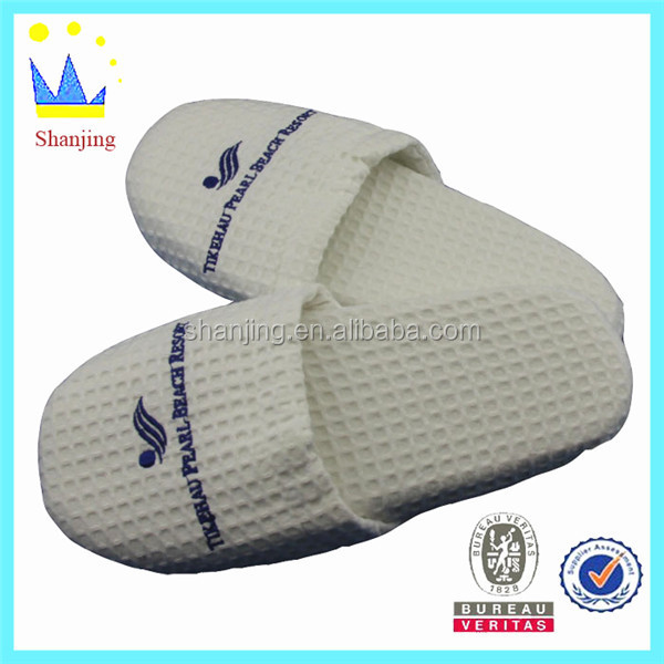 thickness sole waffle slipper flat white hotel slippers