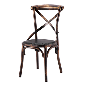 Cross back metal chair no arm with soft cushion ANTIQUE DESIGN, HYS-T05