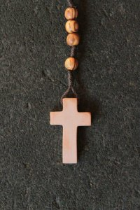 OLIVE WOOD ROSARY WITH JERUSALEM STONE CROSS