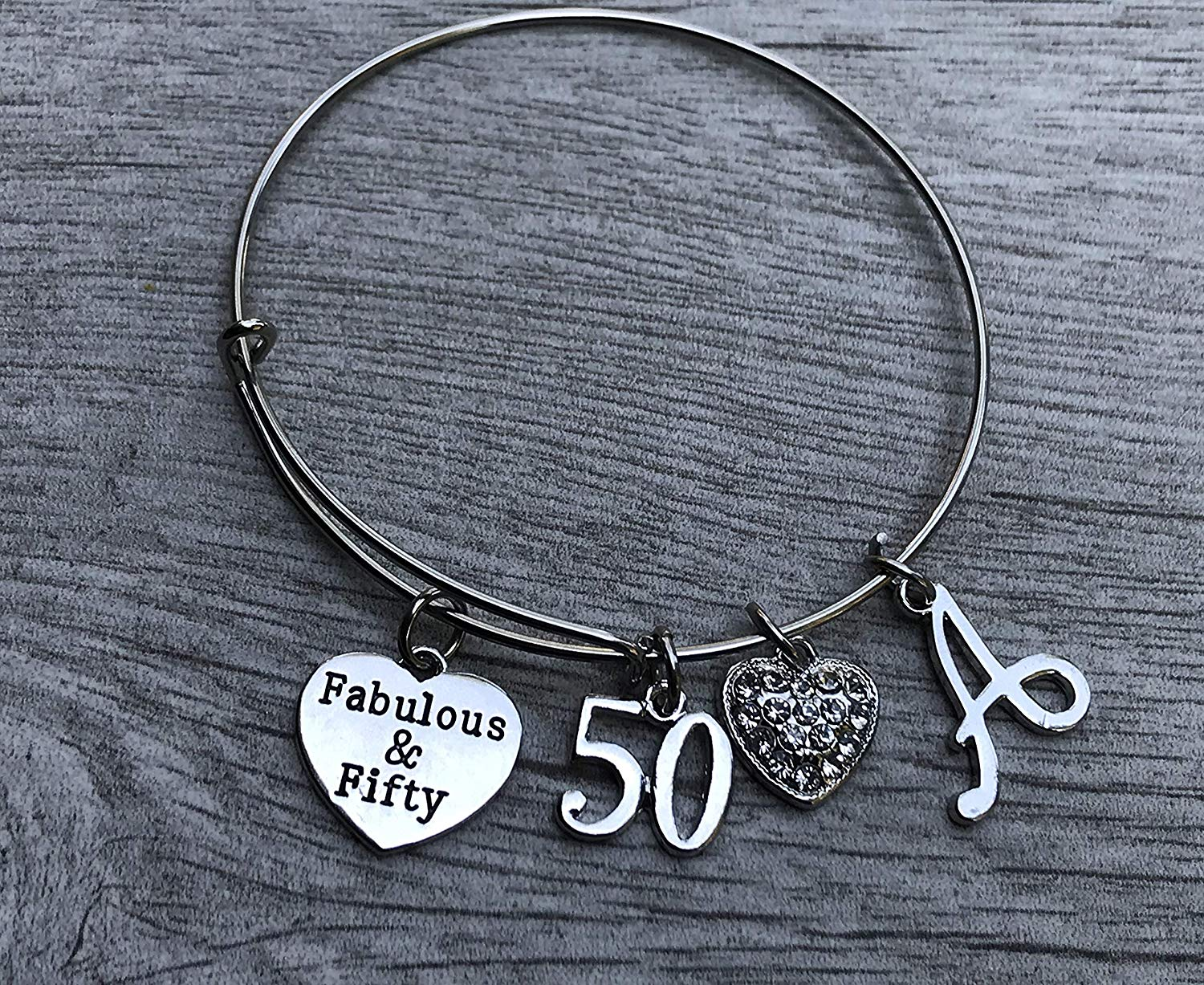 50th Birthday Bangle Bracelet with Letter Charm, 50th Birthday Gifts for Women, Fabulous and Fifty Bracelet. 50th Bday Gifts for Her