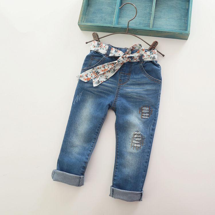 New Arrival Baby Girls Fashion Denim Jeans Girls Floral Belt Skinny Jeans Kids Spring Autumn Jeans