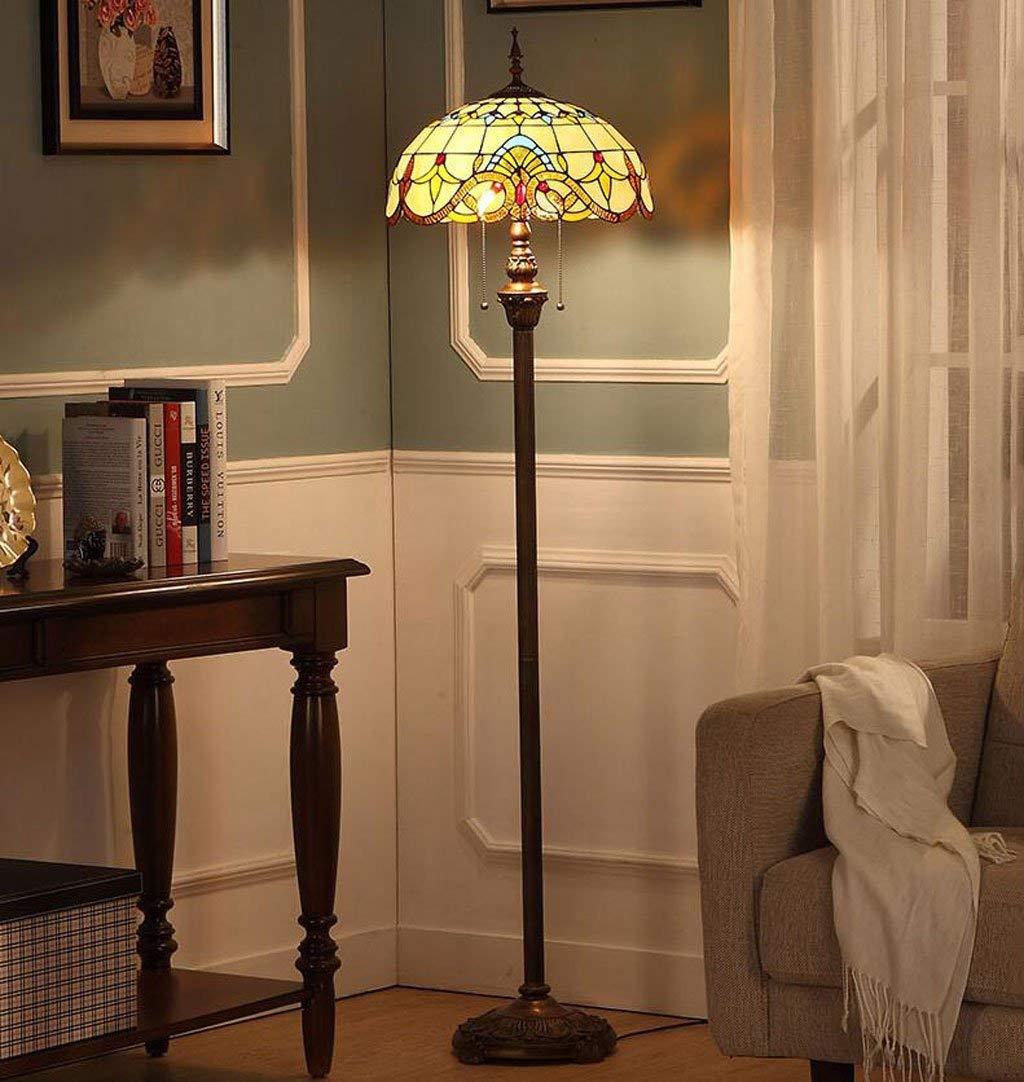 NN Floor Lamp 16-Inch European Pastoral Style Elegant Luxury Creative Handmade Stained Glass