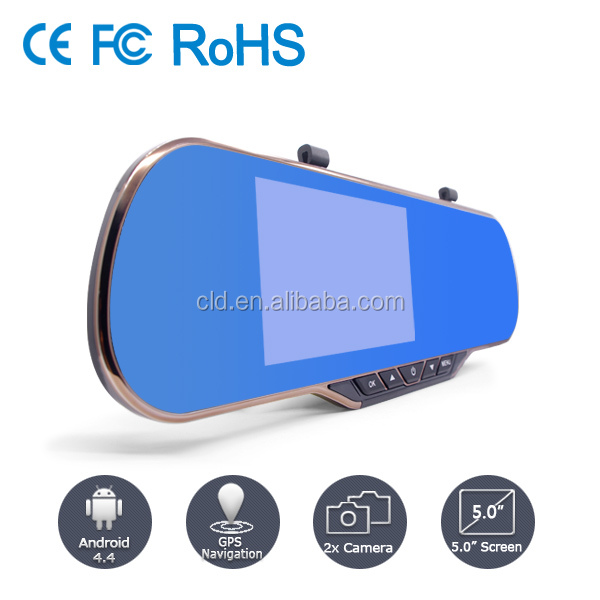 Motion Detection Android system Dual lens rear view mirror car camera dvr dash cam with wifi