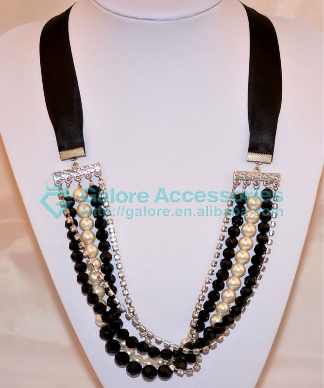 multi strand sapphire beaded necklaces designs black and white