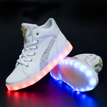 New Unisex LED shoes USB Rechargeable Luminous Shoes High