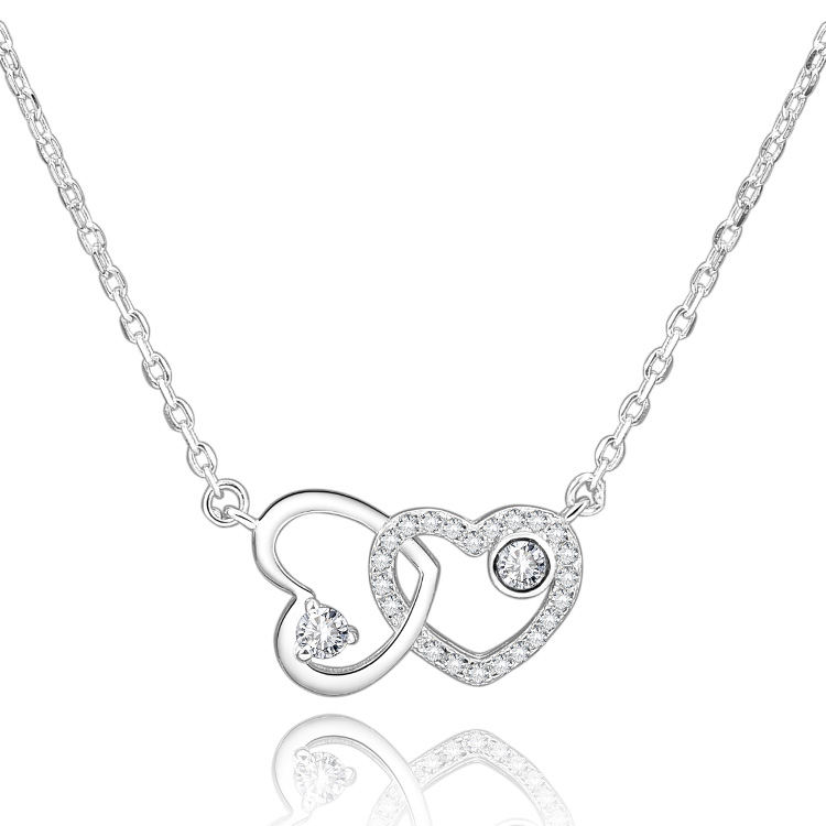 Customized popular <strong>fashion</strong> 925 sterling silver rhodium plated double love heart necklace 2019