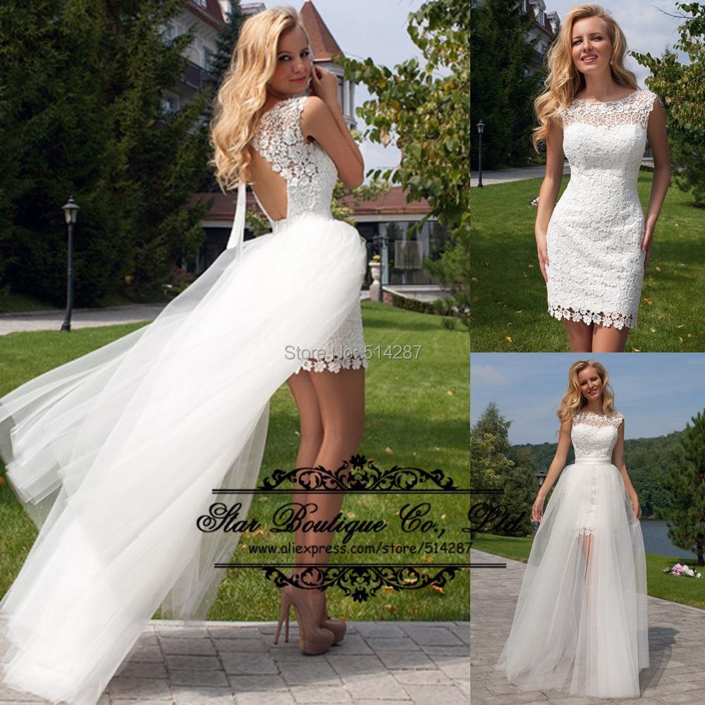 Vestido De Noiva 2016 Sheath Short Backless White Lace