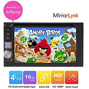 Hot sale New arrival 6.2 inch Car DVD Player Universal Quad-Core cpu mirror link 2 Din Android 5.1 lollipop Car stereo radio headunit Double 2 Din In-dash Video Player bluetooth Wifi GPS Navigation