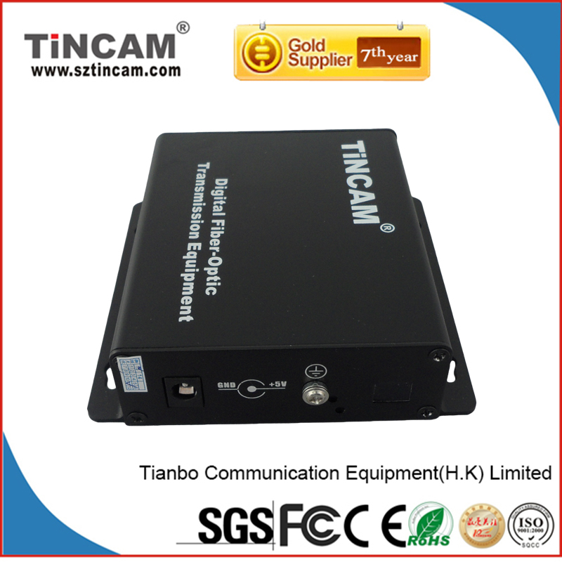 CCTV support RS-485/RS-232/RS-422 data 2 channel Video+audio to fiber converter