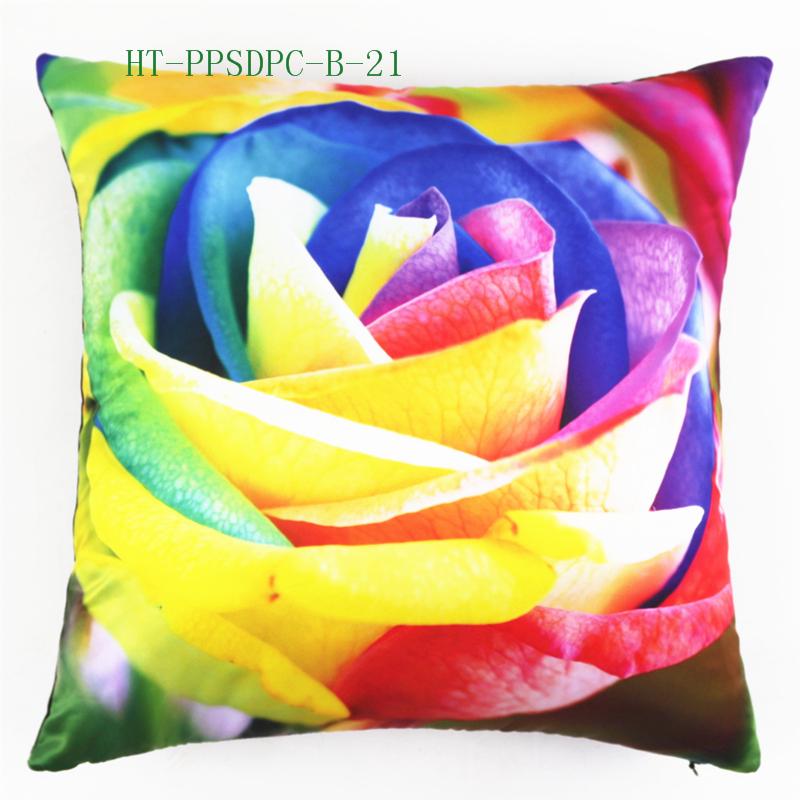 Latest Design Warm Winter Decorative Painting Rose Design Custom Photo Print Large Cushion Cover Pillow Case