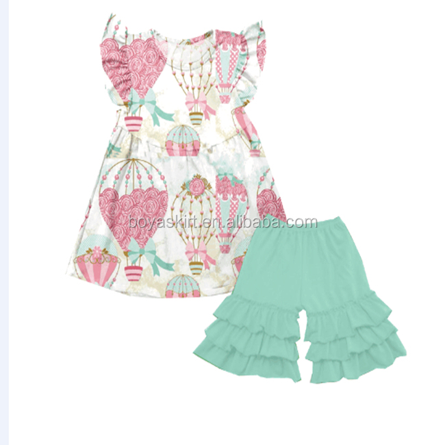 wholesale ruffle sleeveless hot-air balloon style children's dress outfits infant boutique clothing summer baby clothes