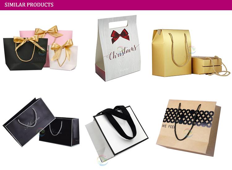 250 gsm Custom Print Wedding Design Gift Shopping Paper Bag with Ribbon