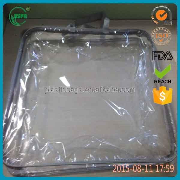 Clear quilt pillow plastic bag with tote