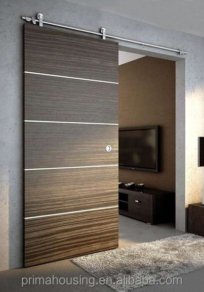 Indoor modern sliding door design with solid wood door for Sliding indoor doors design