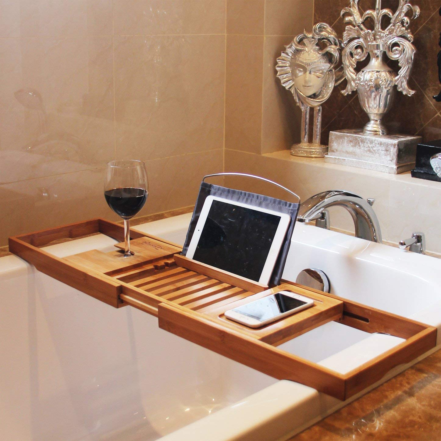 Natural wooden bamboo bathtub caddy tray organizer with extension function