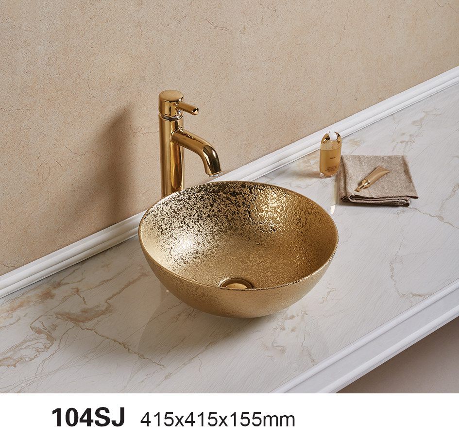 2017 latest small size Living room top vanity art basin china gold plated decorative wash band bowl