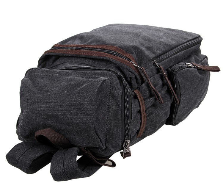 9016A New And Casual Canvas And Leather Travel Backpack Bookbag Schoolbag Hiking Bag Black Color