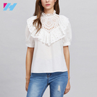 Cheap China Wholesale Eyelet Embroidered Frill Trim Puff Sleeve Blouse Clothes Women Ladies