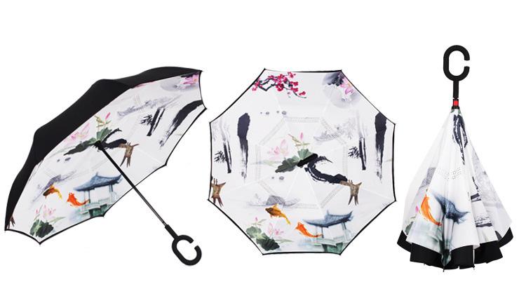 Creative Reverse Umbrella Windproof Reverse Folding Double Layer Umbrella  Self Stand Inside Out Rain C-Hook Hands For Car - us338 e7b14c9627f