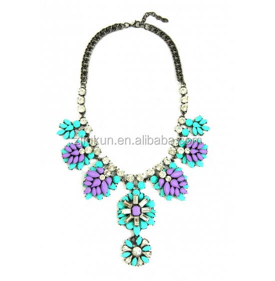new fashion pastel enamel stone flower cluster bridal statement necklace