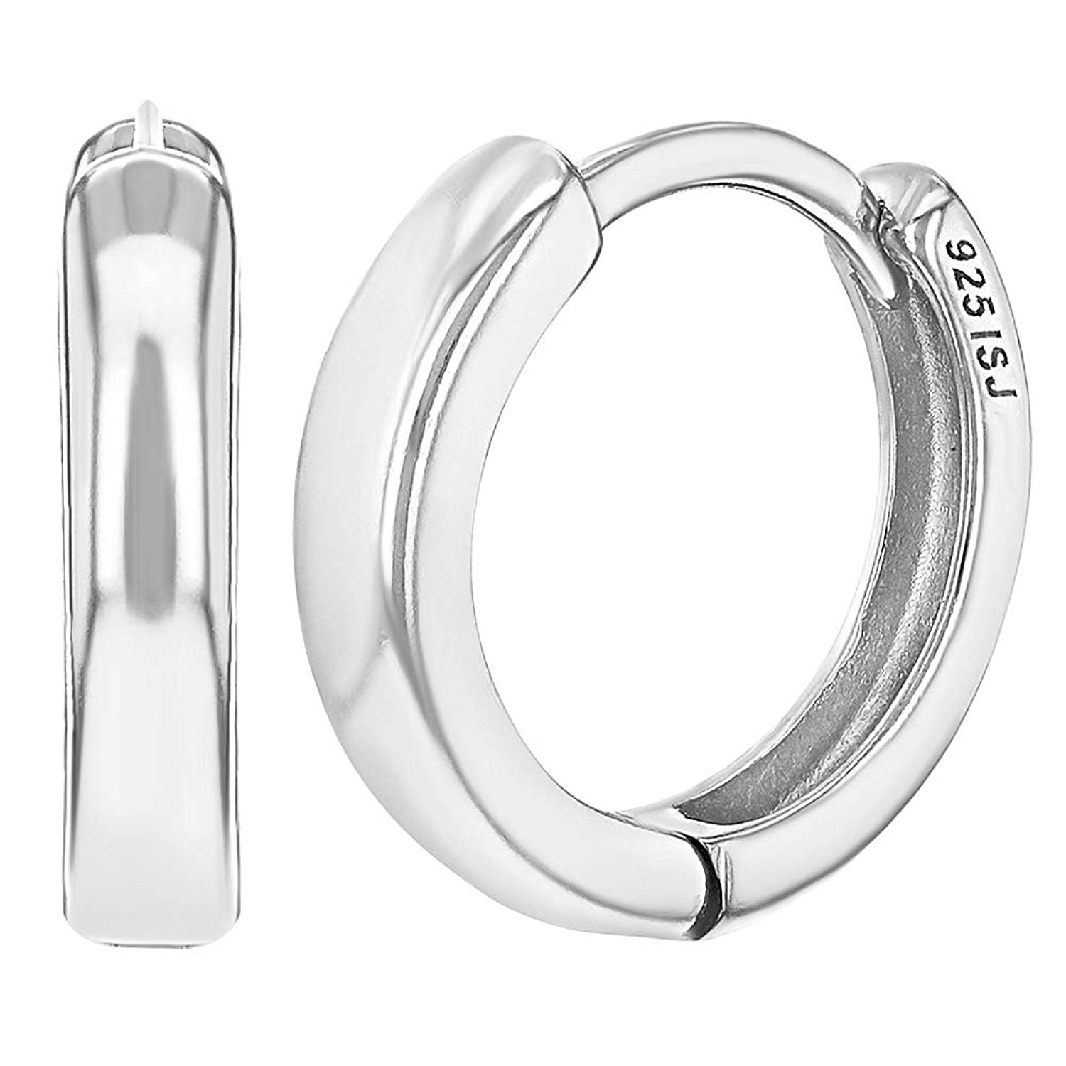 Sterling Silver 22mm Diameter Five Rectangular Cubic Zirconia Huggie Hoop Earrings
