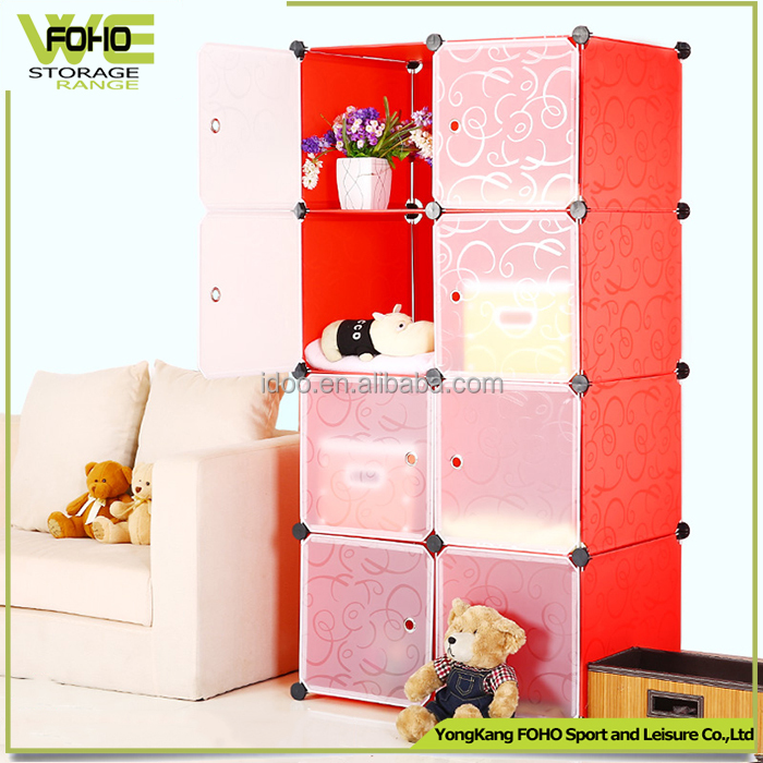 Modern furniture cabinets plastic portable clothes closet cube storage cupboard cabinet wardrobe FH-AL0030-8